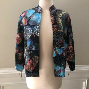 Chico's Size 1 Silk Colorful Butterfly Open Jacket